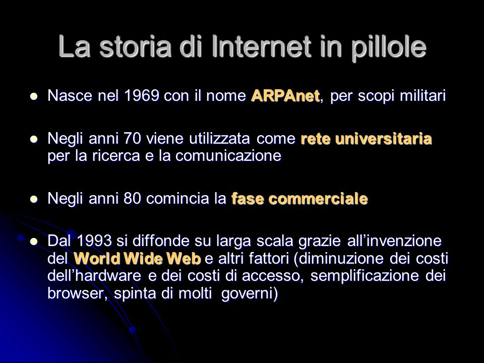 La storia di Internet in pillole