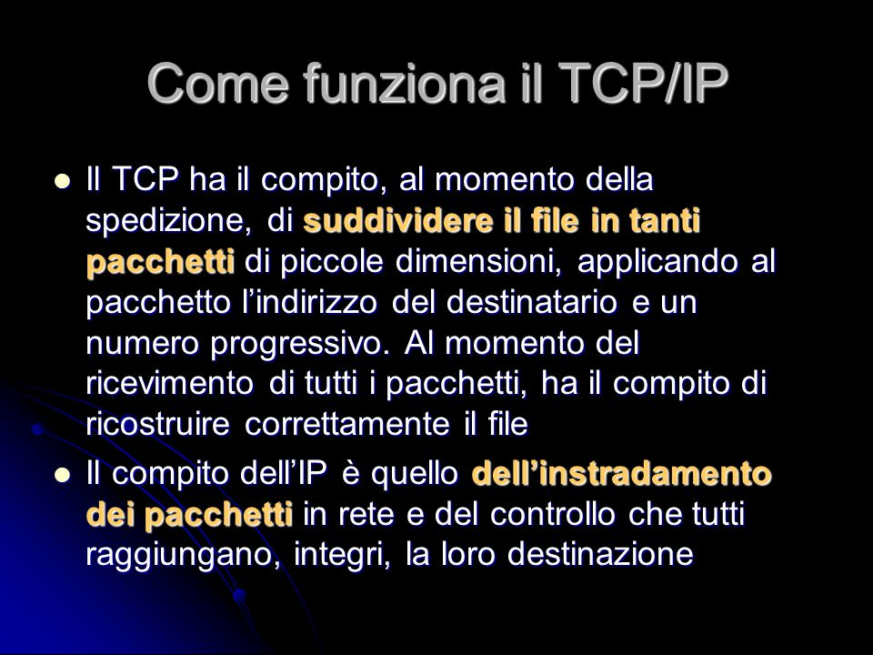 Come funziona il TCP/IP