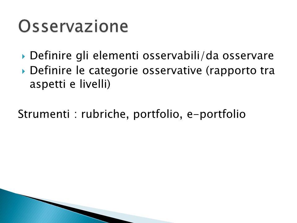Osservazione Definire gli elementi osservabili/da osservare