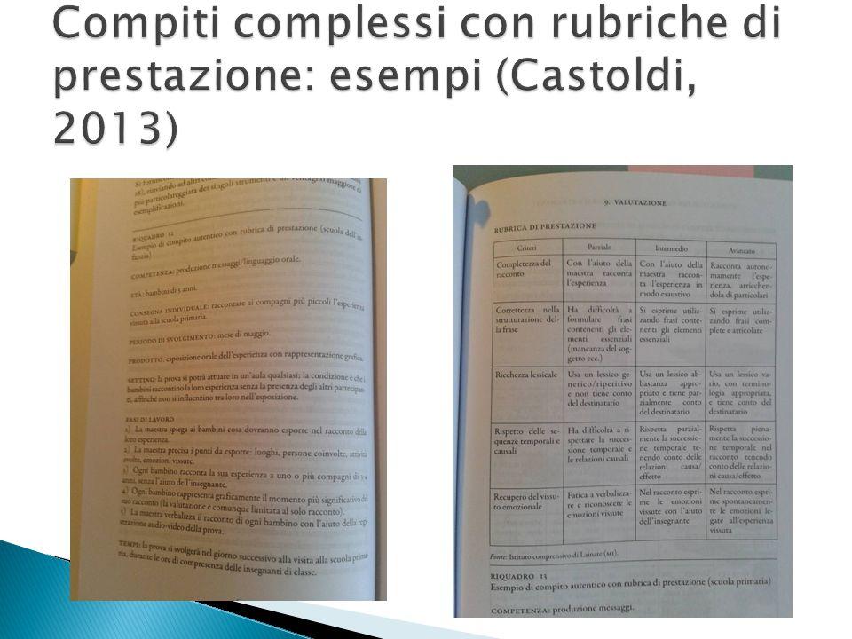 Compiti complessi con rubriche di prestazione: esempi (Castoldi, 2013)