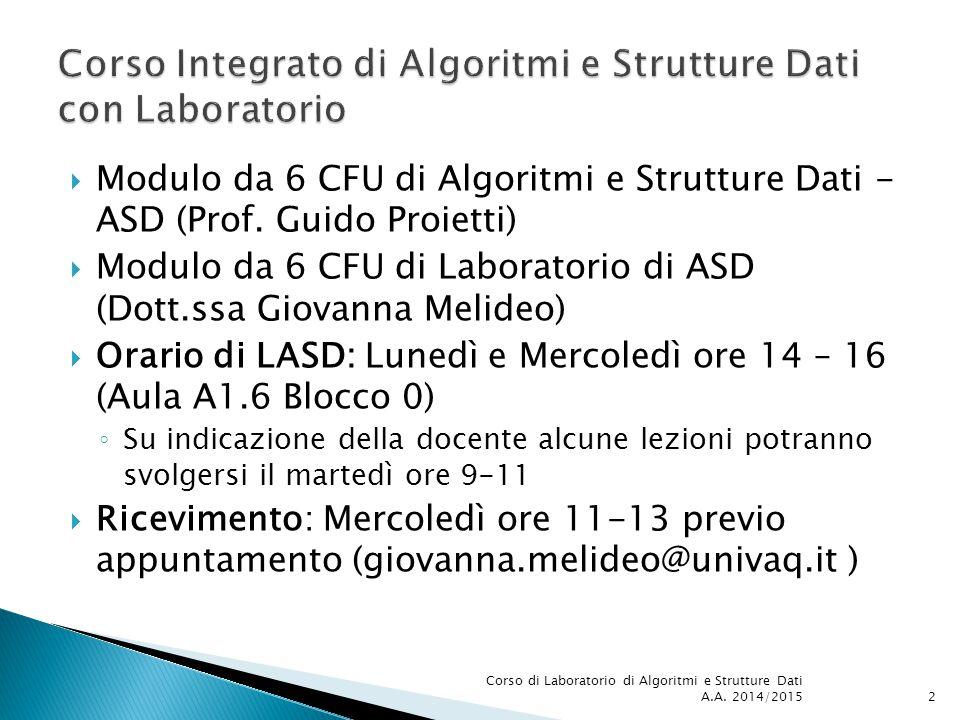 Corso Integrato di Algoritmi e Strutture Dati con Laboratorio