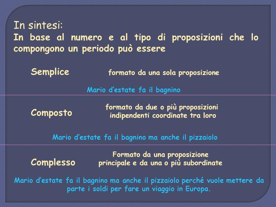 In sintesi: In base al numero e al tipo di proposizioni che lo compongono un periodo può essere. Semplice.