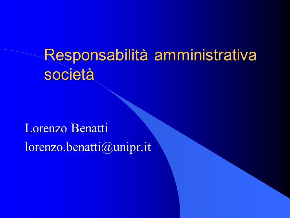 Responsabilità amministrativa società