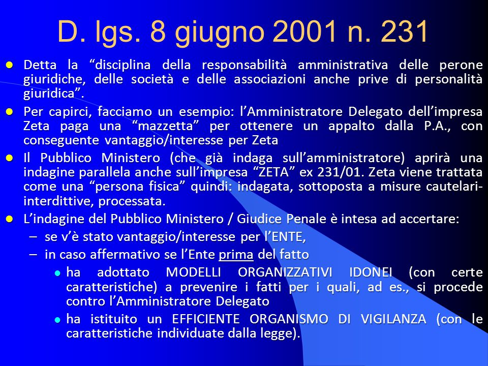 D. lgs. 8 giugno 2001 n. 231