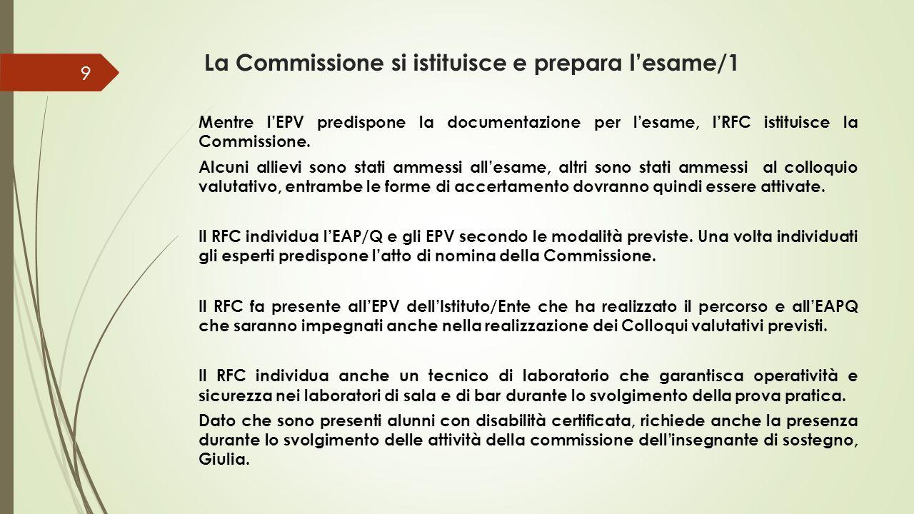 La Commissione si istituisce e prepara l'esame/1