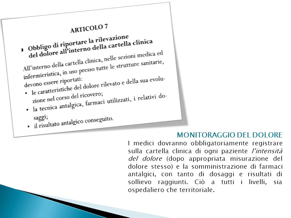 MONITORAGGIO DEL DOLORE
