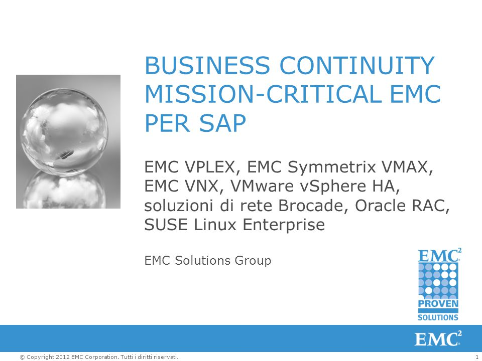 BUSINESS CONTINUITY MISSION-CRITICAL EMC PER SAP