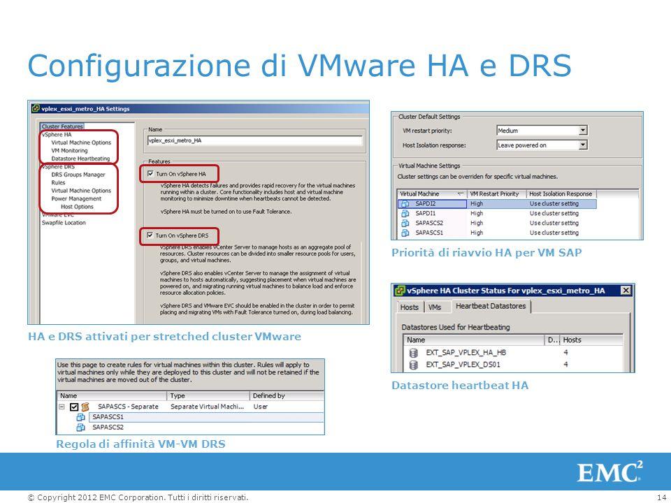 Configurazione di VMware HA e DRS