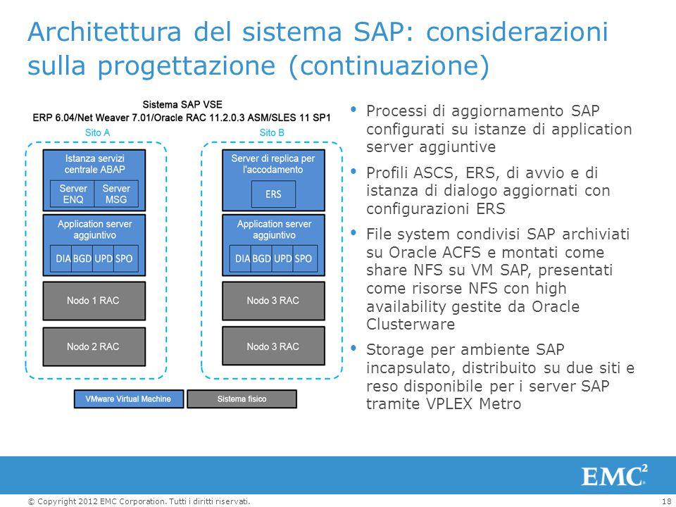 Architettura del sistema SAP: considerazioni sulla progettazione (continuazione)