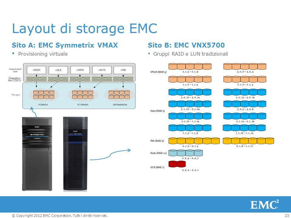 Layout di storage EMC Sito A: EMC Symmetrix VMAX Sito B: EMC VNX5700