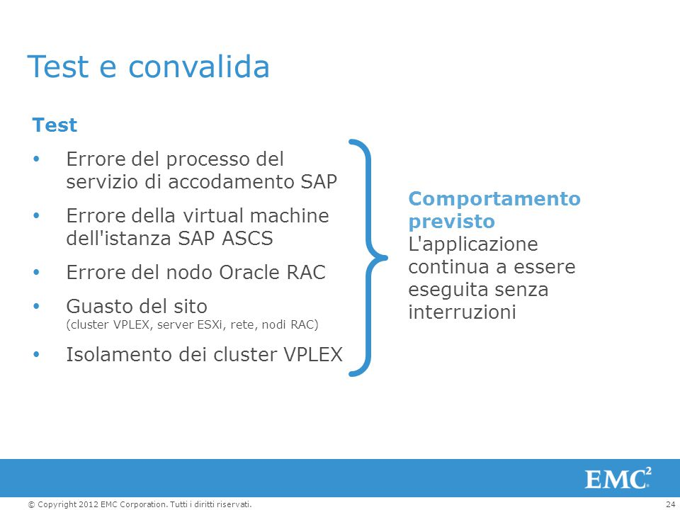 Test e convalida Test. Errore del processo del servizio di accodamento SAP. Errore della virtual machine dell istanza SAP ASCS.