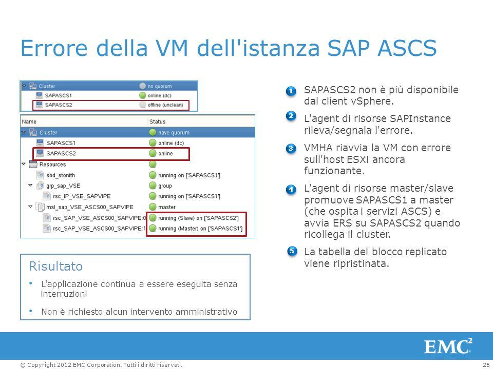 Errore della VM dell istanza SAP ASCS