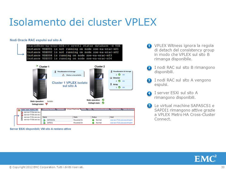 Isolamento dei cluster VPLEX