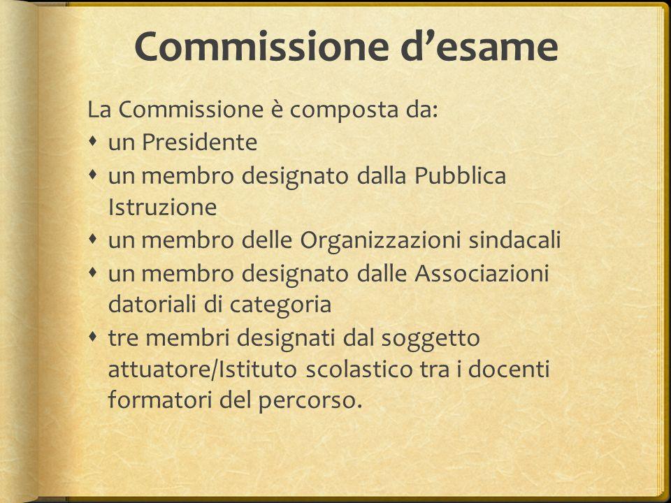Commissione d'esame La Commissione è composta da: un Presidente