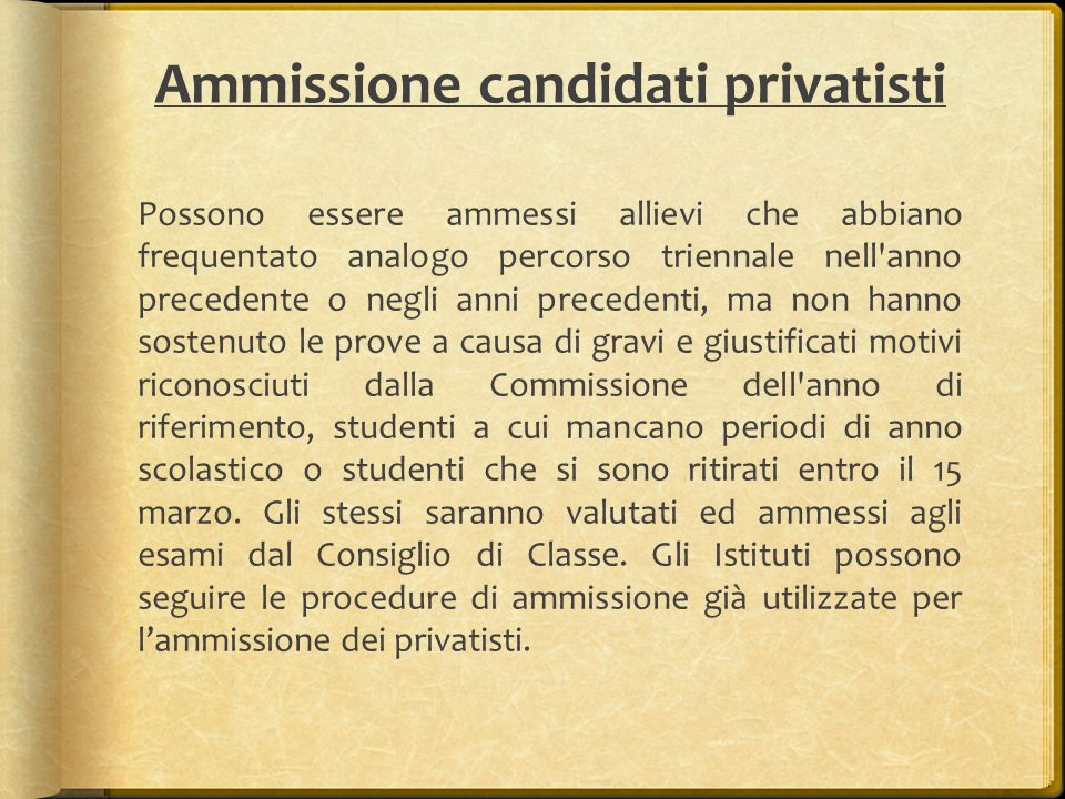Ammissione candidati privatisti
