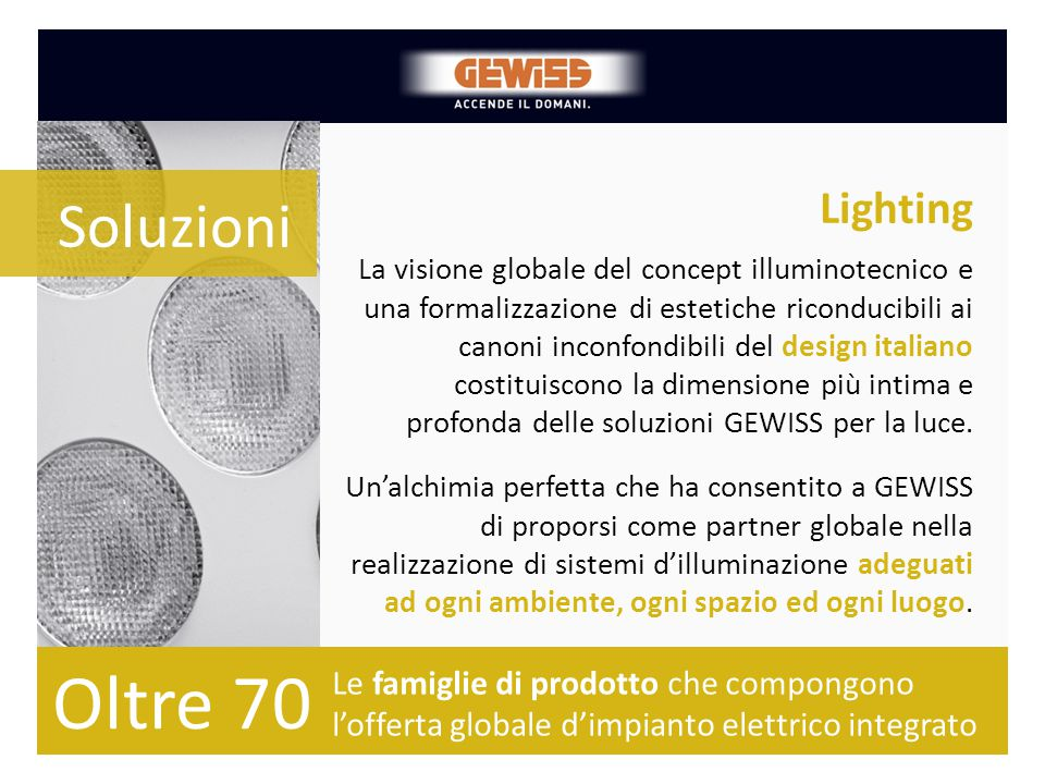 Oltre 70 Soluzioni Lighting