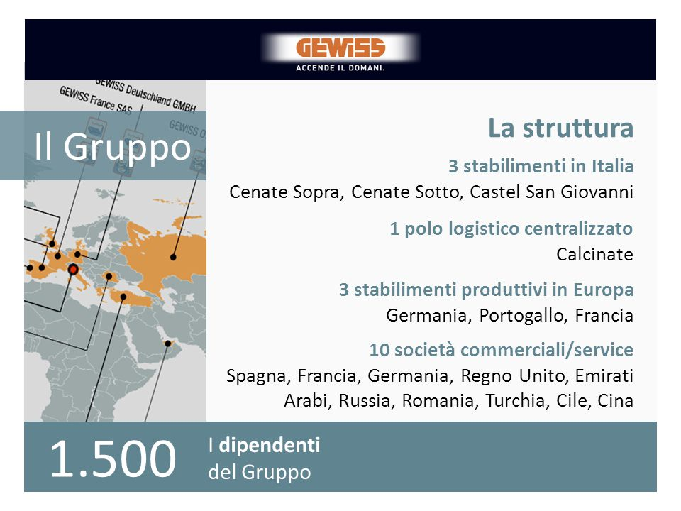 La struttura Il Gruppo. 3 stabilimenti in Italia. Cenate Sopra, Cenate Sotto, Castel San Giovanni.