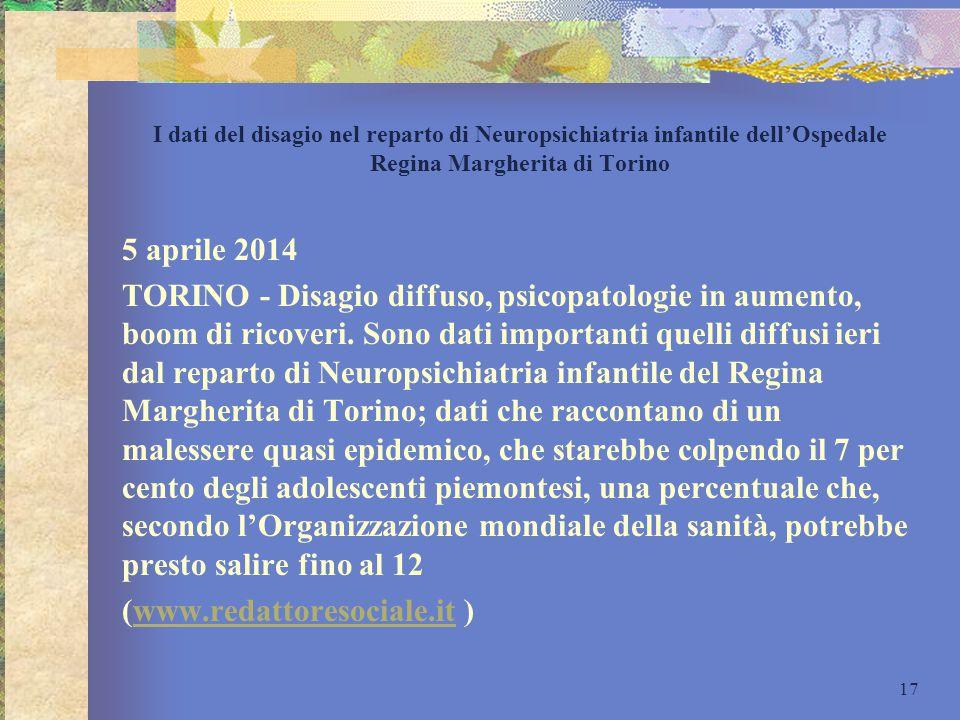 I dati del disagio nel reparto di Neuropsichiatria infantile dell'Ospedale Regina Margherita di Torino