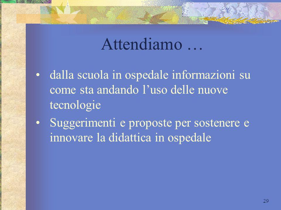 Attendiamo … dalla scuola in ospedale informazioni su come sta andando l'uso delle nuove tecnologie.