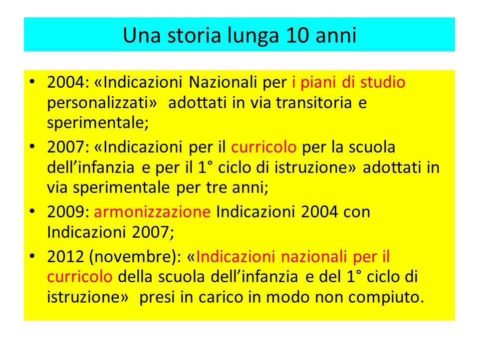 una storia lunga 10 anni 2004 indicazioni nazionali per