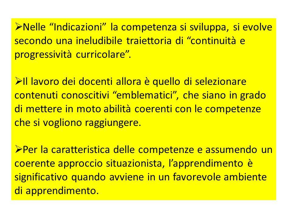 Nelle Indicazioni la competenza si sviluppa, si evolve secondo una ineludibile traiettoria di continuità e progressività curricolare .