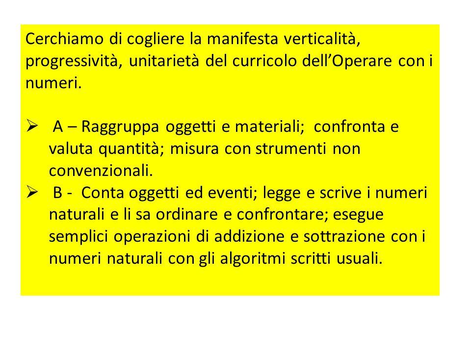 Cerchiamo di cogliere la manifesta verticalità, progressività, unitarietà del curricolo dell'Operare con i numeri.