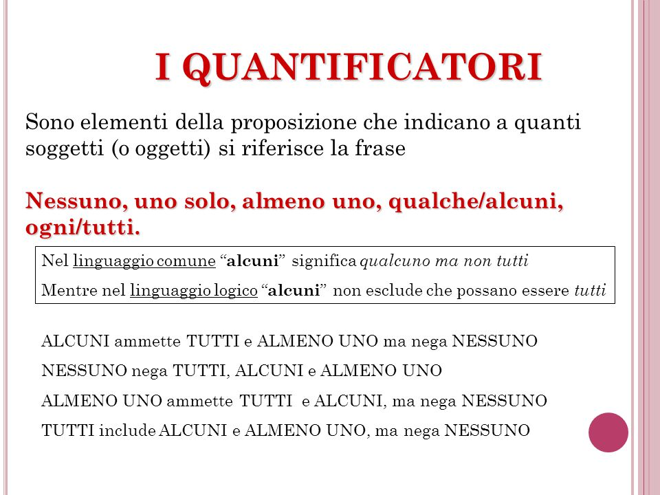 I QUANTIFICATORI Sono elementi della proposizione che indicano a quanti soggetti (o oggetti) si riferisce la frase.