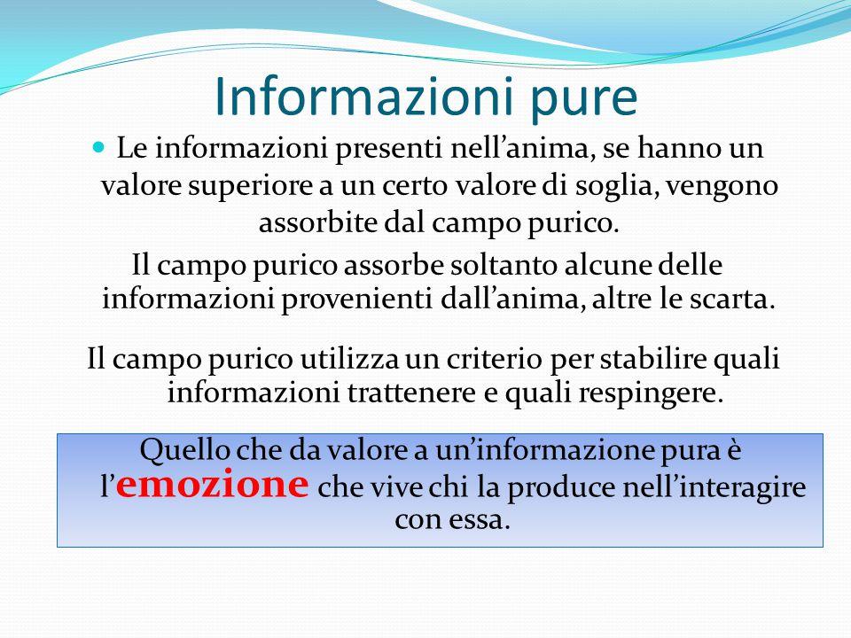 Informazioni pure Le informazioni presenti nell'anima, se hanno un valore superiore a un certo valore di soglia, vengono assorbite dal campo purico.