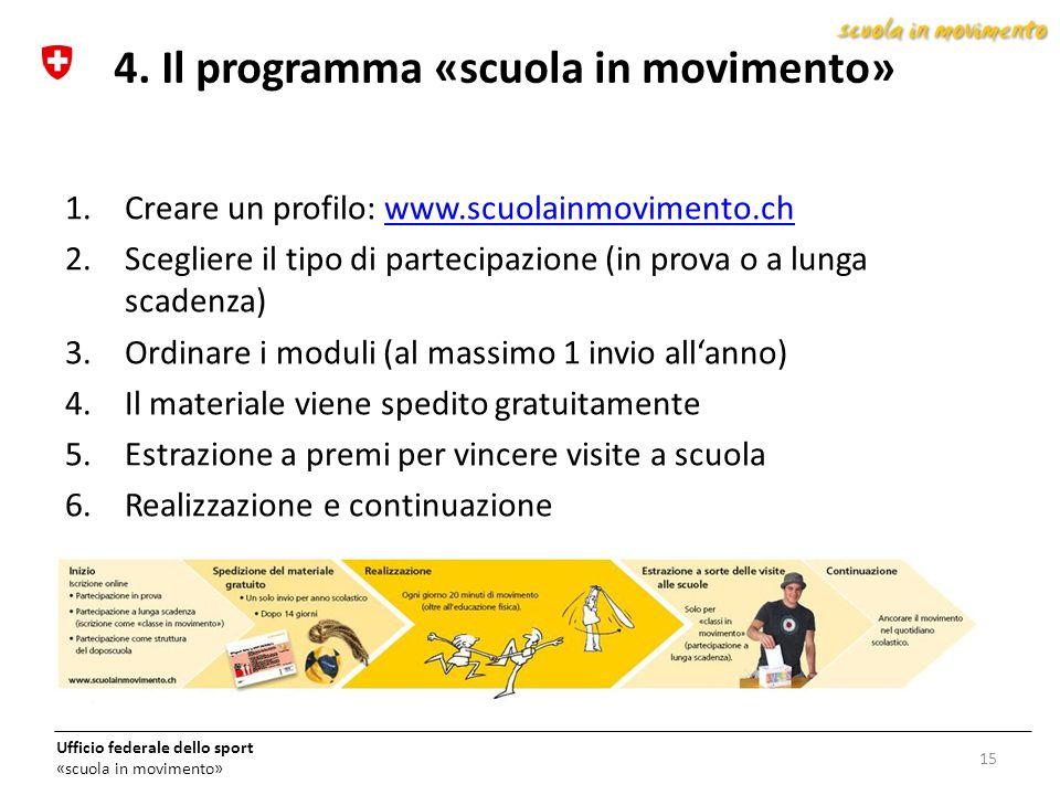 4. Il programma «scuola in movimento»