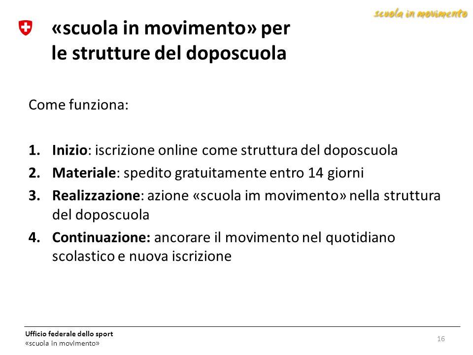 «scuola in movimento» per le strutture del doposcuola
