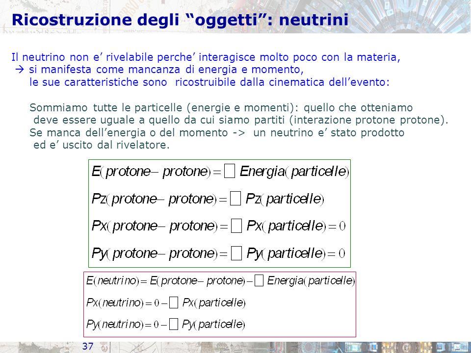 Ricostruzione degli oggetti : neutrini