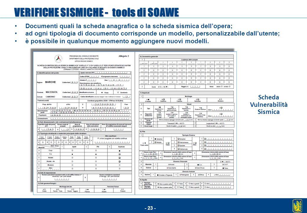 VERIFICHE SISMICHE - tools di SOAWE