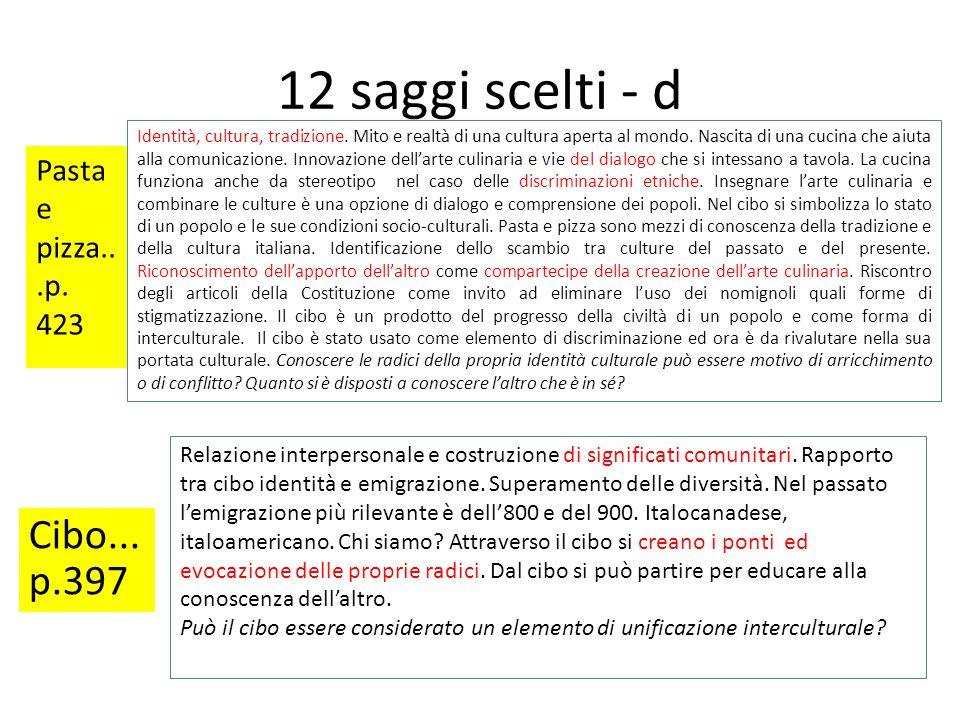 12 saggi scelti - d Cibo...p.397 Pasta e pizza...p. 423