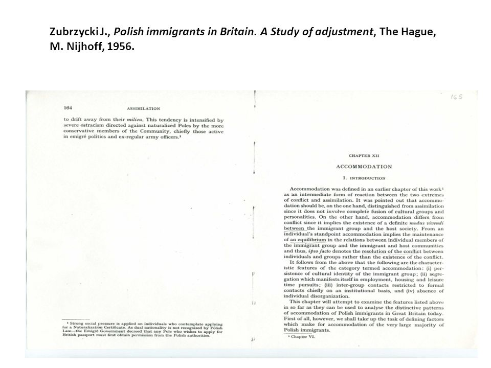 Concepts Zubrzycki J., Polish immigrants in Britain.