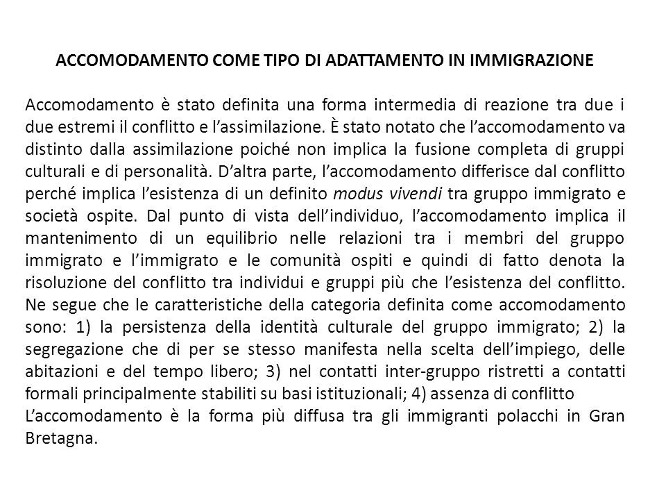 ACCOMODAMENTO COME TIPO DI ADATTAMENTO IN IMMIGRAZIONE
