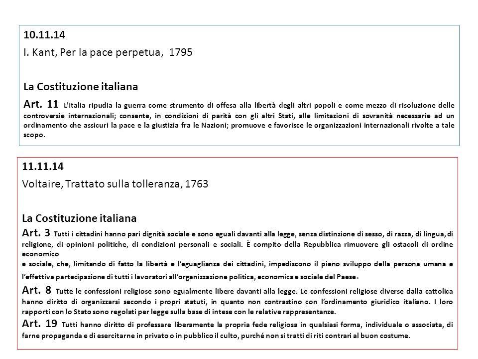 I. Kant, Per la pace perpetua, 1795 La Costituzione italiana