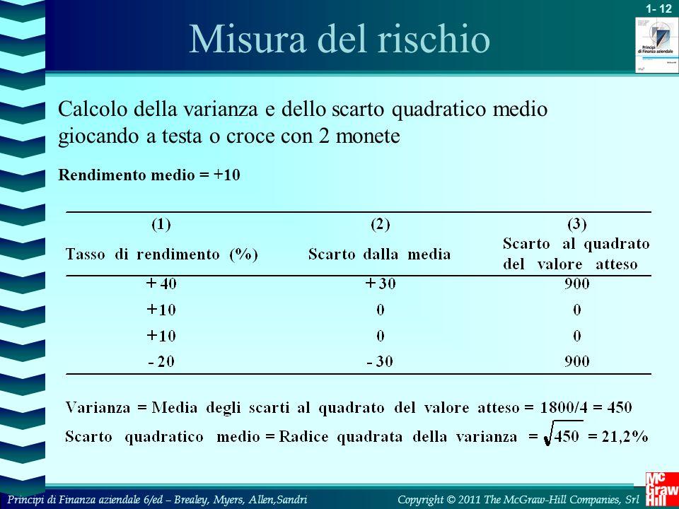 Misura del rischio Calcolo della varianza e dello scarto quadratico medio giocando a testa o croce con 2 monete.