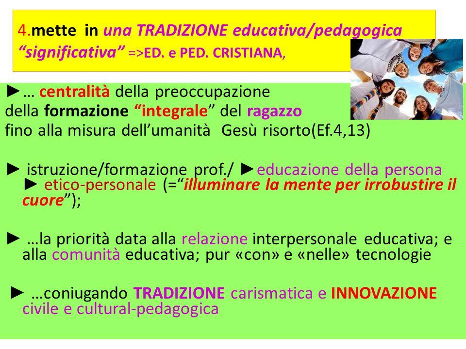 4.mette in una TRADIZIONE educativa/pedagogica significativa =>ED. e PED. CRISTIANA,