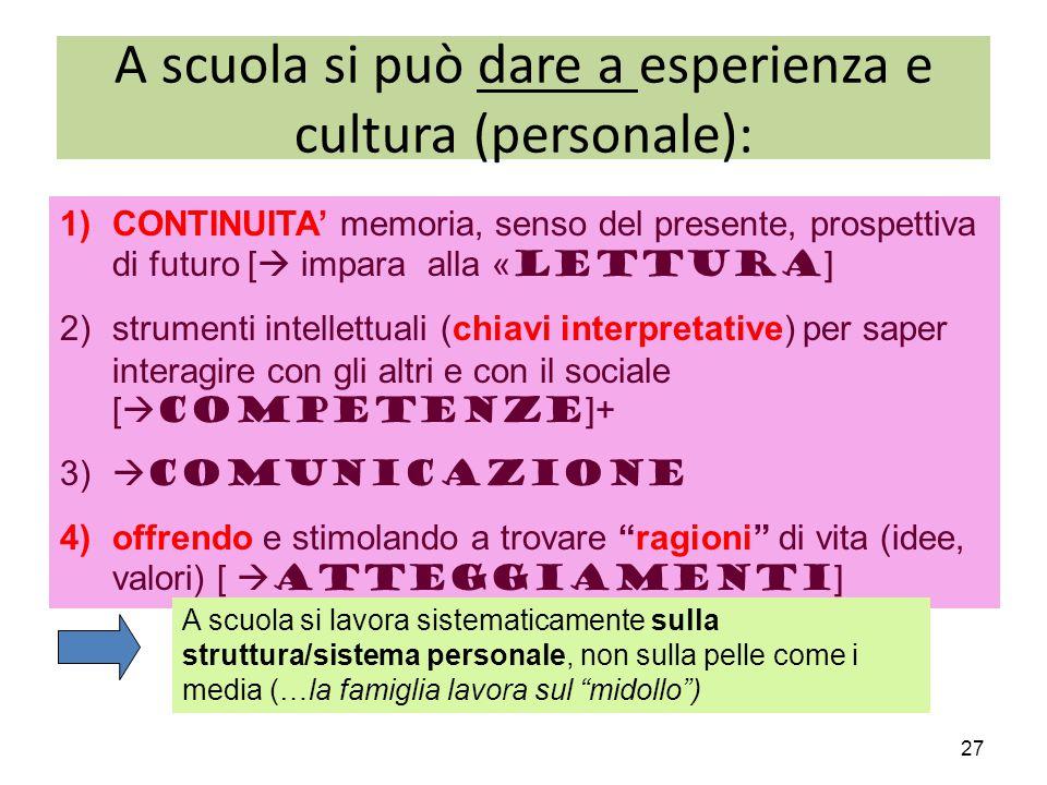 A scuola si può dare a esperienza e cultura (personale):
