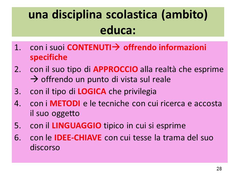 una disciplina scolastica (ambito) educa: