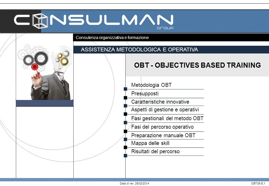 OBT - OBJECTIVES BASED TRAINING I servizi di formazione: