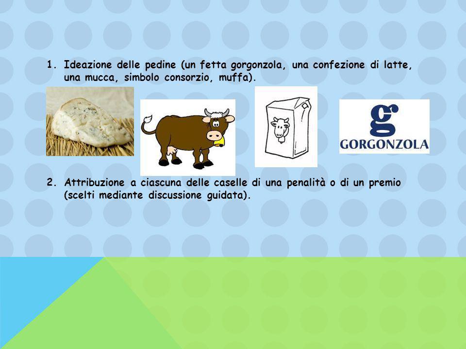 Ideazione delle pedine (un fetta gorgonzola, una confezione di latte, una mucca, simbolo consorzio, muffa).