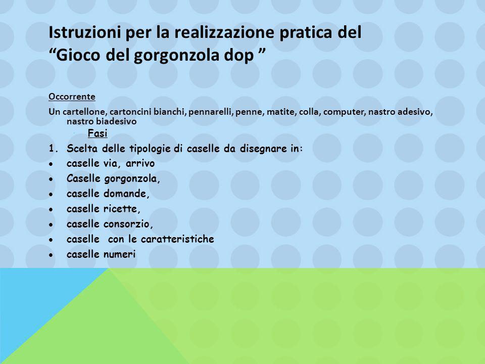 Istruzioni per la realizzazione pratica del Gioco del gorgonzola dop