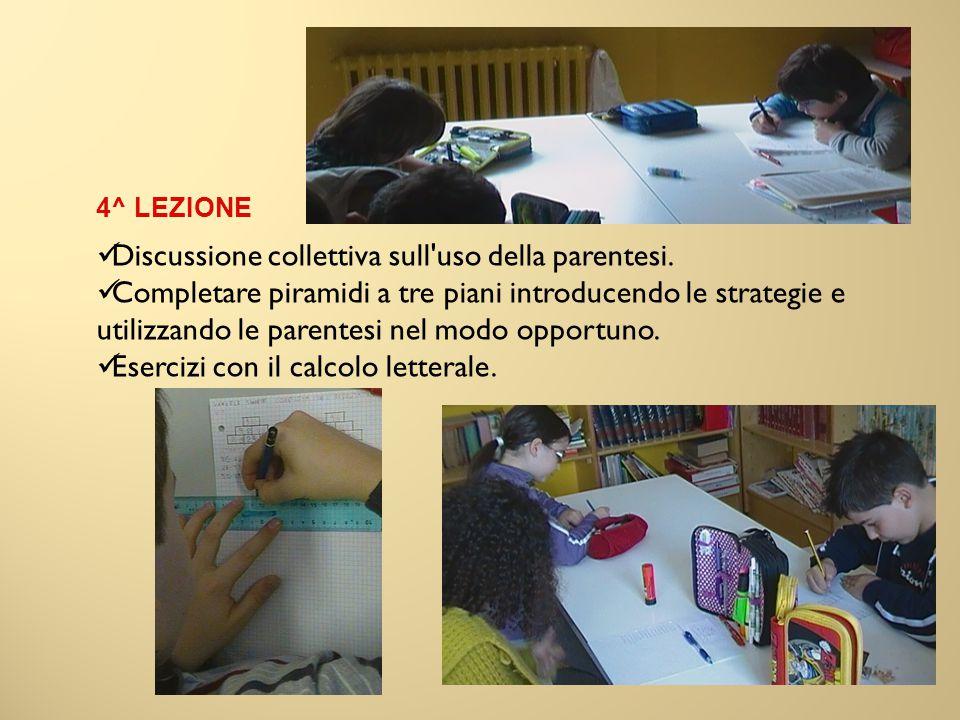 Discussione collettiva sull uso della parentesi.
