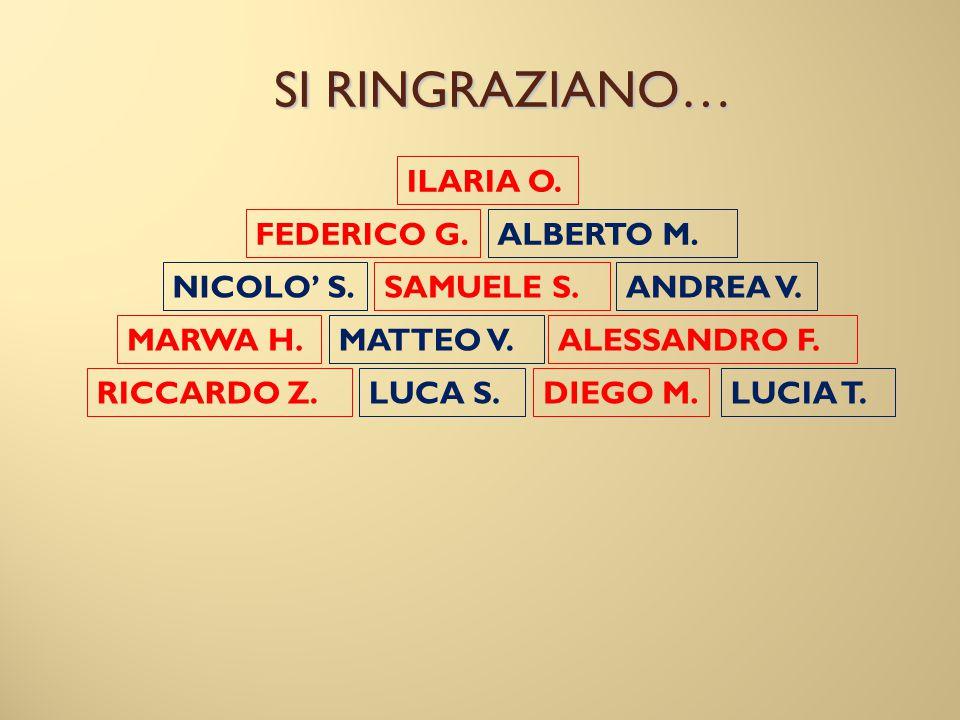 SI RINGRAZIANO… ILARIA O. FEDERICO G. ALBERTO M. NICOLO' S. SAMUELE S.