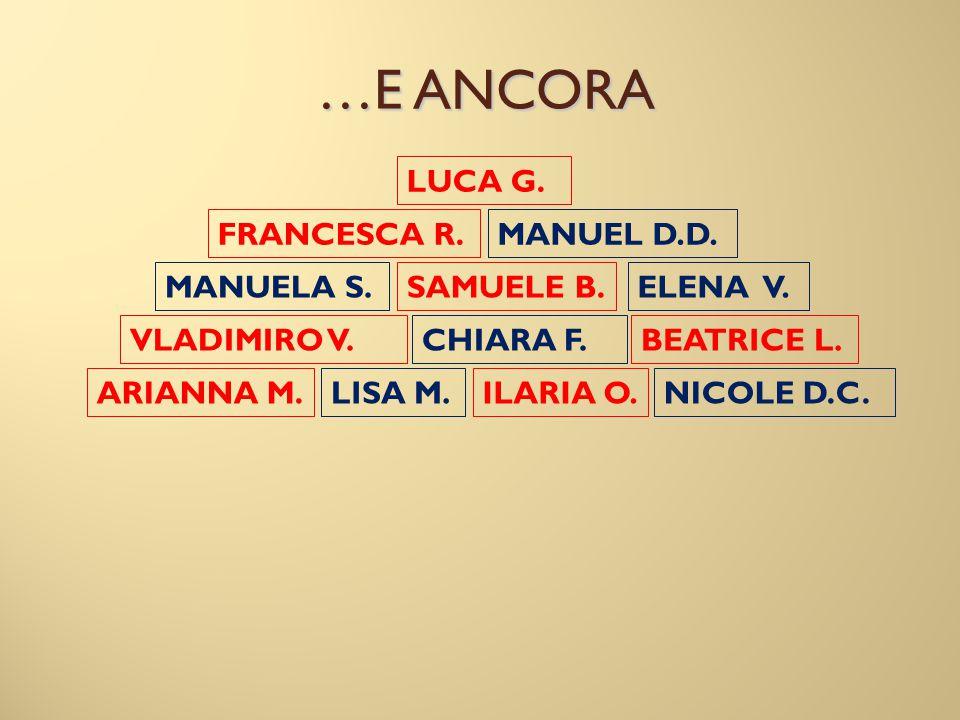 …E ANCORA LUCA G. FRANCESCA R. MANUEL D.D. MANUELA S. SAMUELE B.