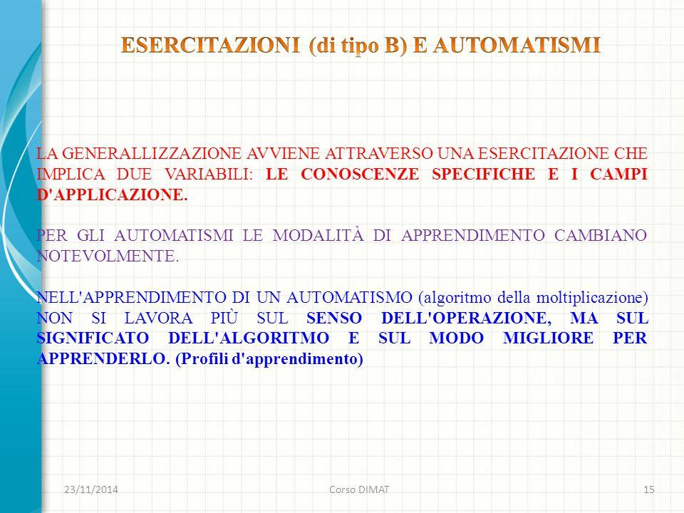 ESERCITAZIONI (di tipo B) E AUTOMATISMI
