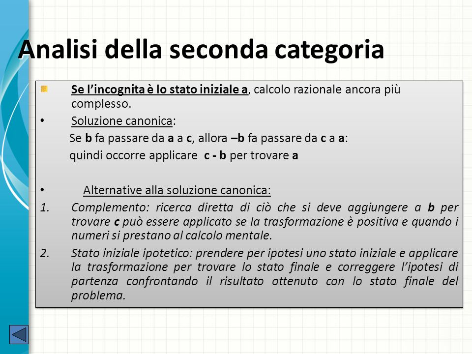 Analisi della seconda categoria