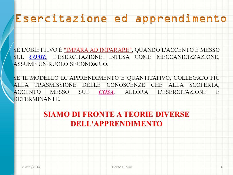 SIAMO DI FRONTE A TEORIE DIVERSE DELL APPRENDIMENTO