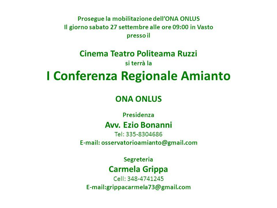 I Conferenza Regionale Amianto